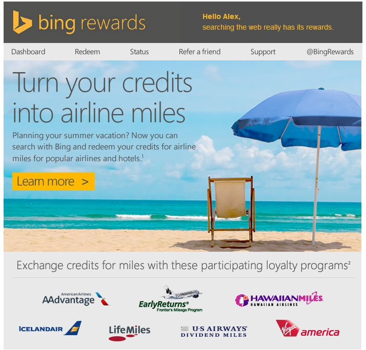 Bing Rewards Expands Program To Offer Frequent Flyer Miles