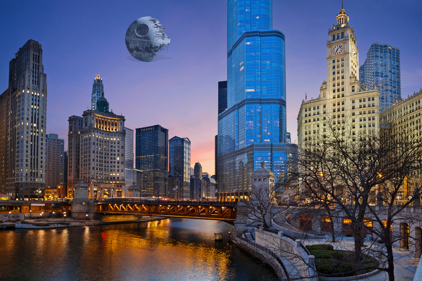 George Lucas-Death Star-Chicago-skyline-2