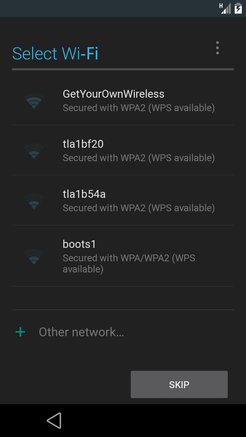 Android L Preview Select Wi-Fi Screenshot