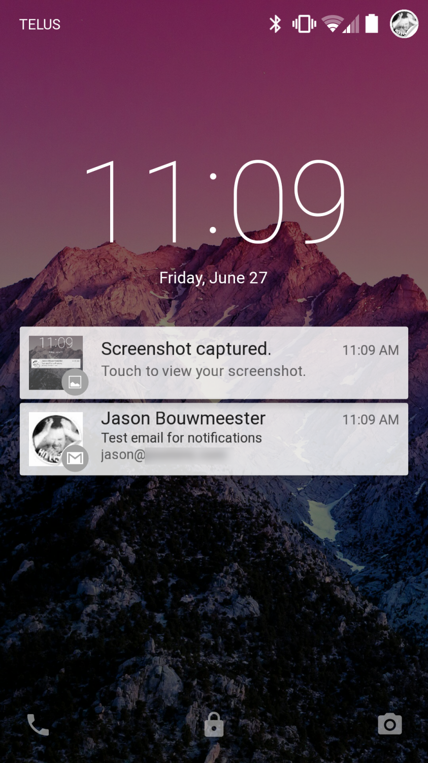 Android L Developer Preview Lock Screen Notifications Screenshot