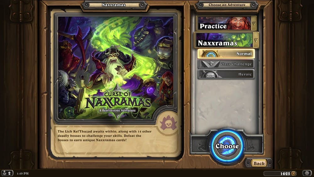 Naxxramas Selection Screen