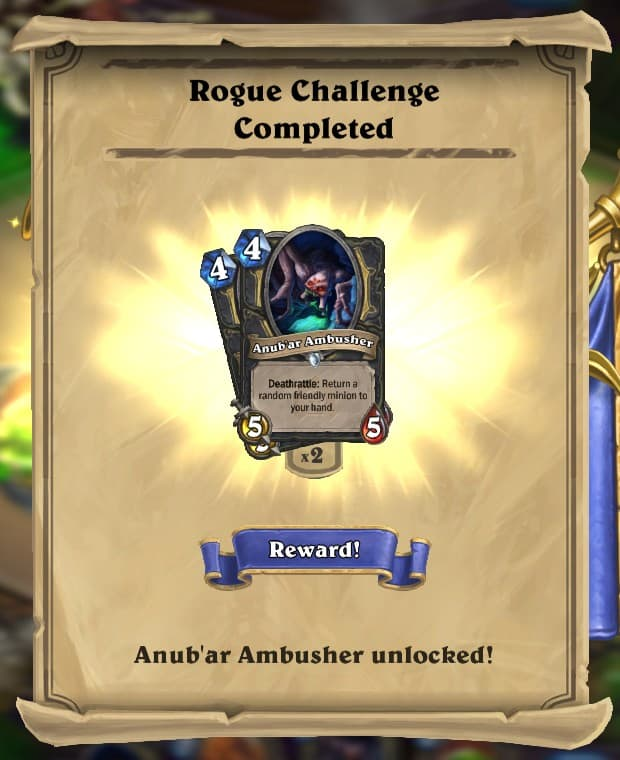 Rogue Challenge Reward Card
