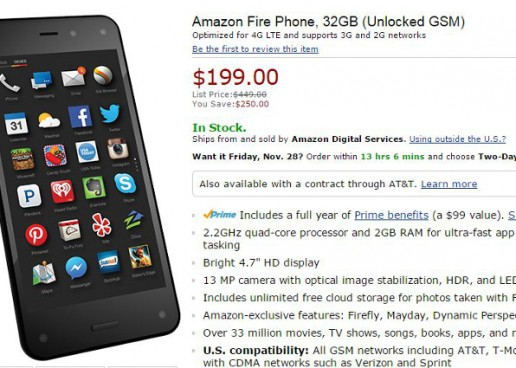 Amazon Fire Phone Price Drop Now $199 No Contract
