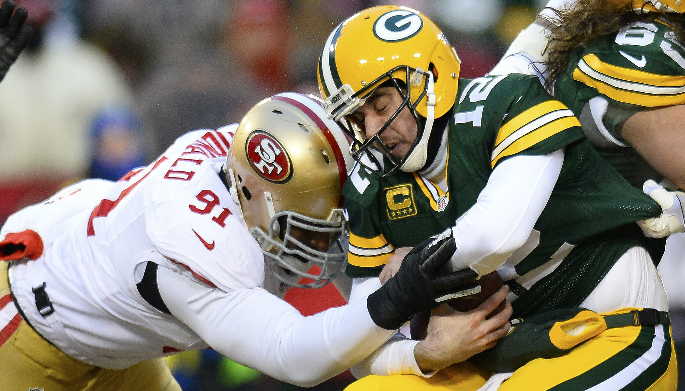 Aaron Rodgers getting sacked...Always awesome Image Courtesy of Fox News
