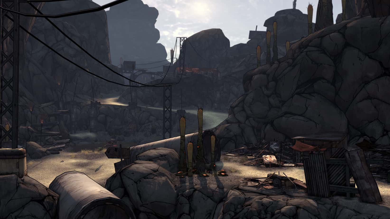Screenshot of the original Borderlands available on Steam, displaying a unique cel-shaded art direction that doesn