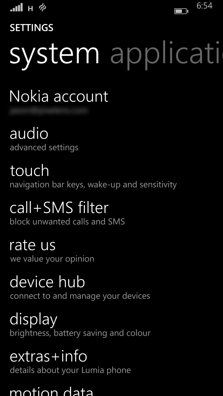 Windows Phone 8.1 Settings Screen