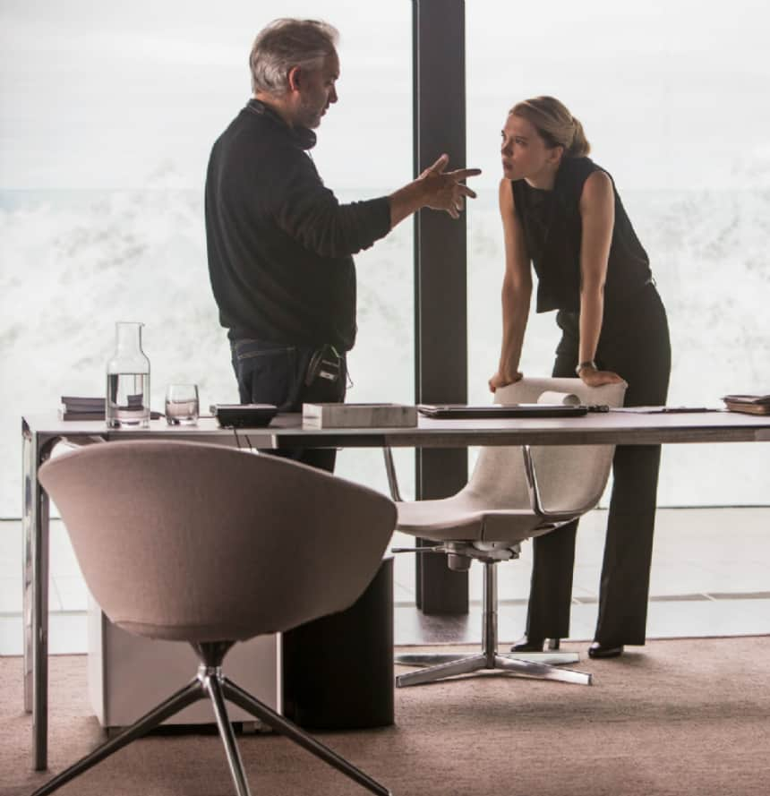 Lea Seydoux and director Sam Mendes.