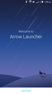 Arrow Launcher Welcome Screen