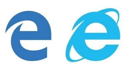 Edge icon on the left, Internet Explorer on the right.