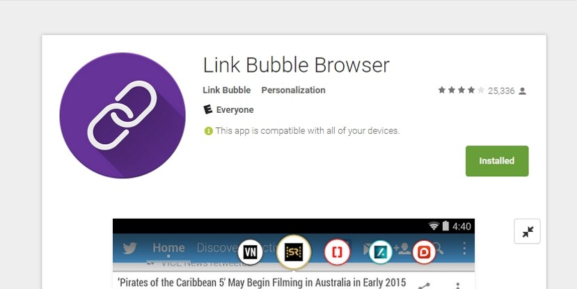 Link Bubble Free