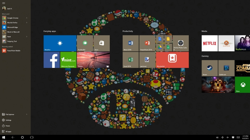 Tablet mode brings the full screen start menu and is quite easy to navigate.