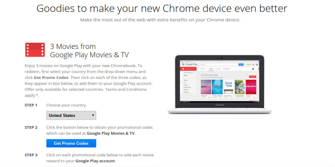 google is giving chromebook users three free movies