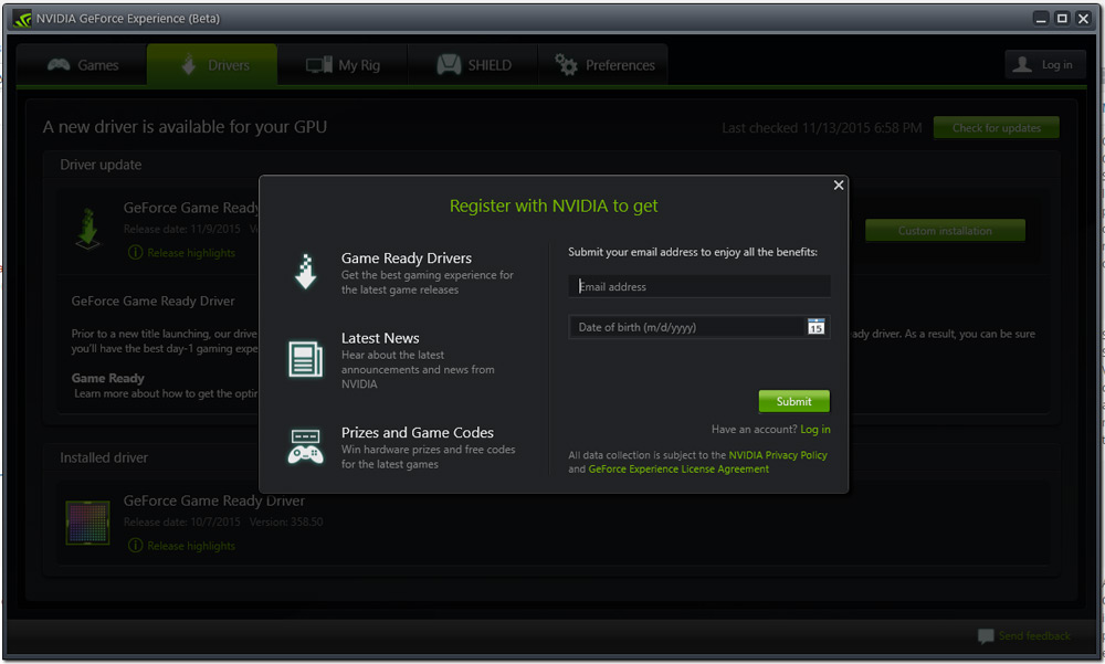 NVIDIA-Drivers-Registration