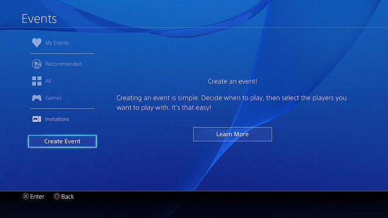 PS4 Create Scheduled Event