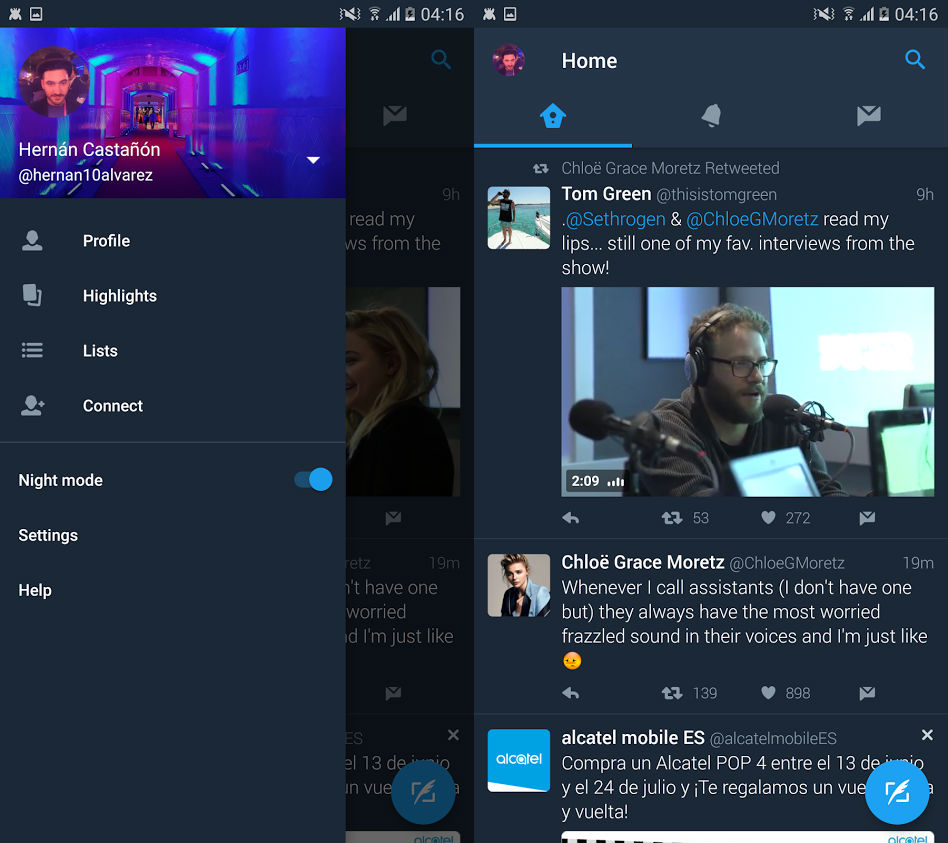 Android official Twitter app gets night mode