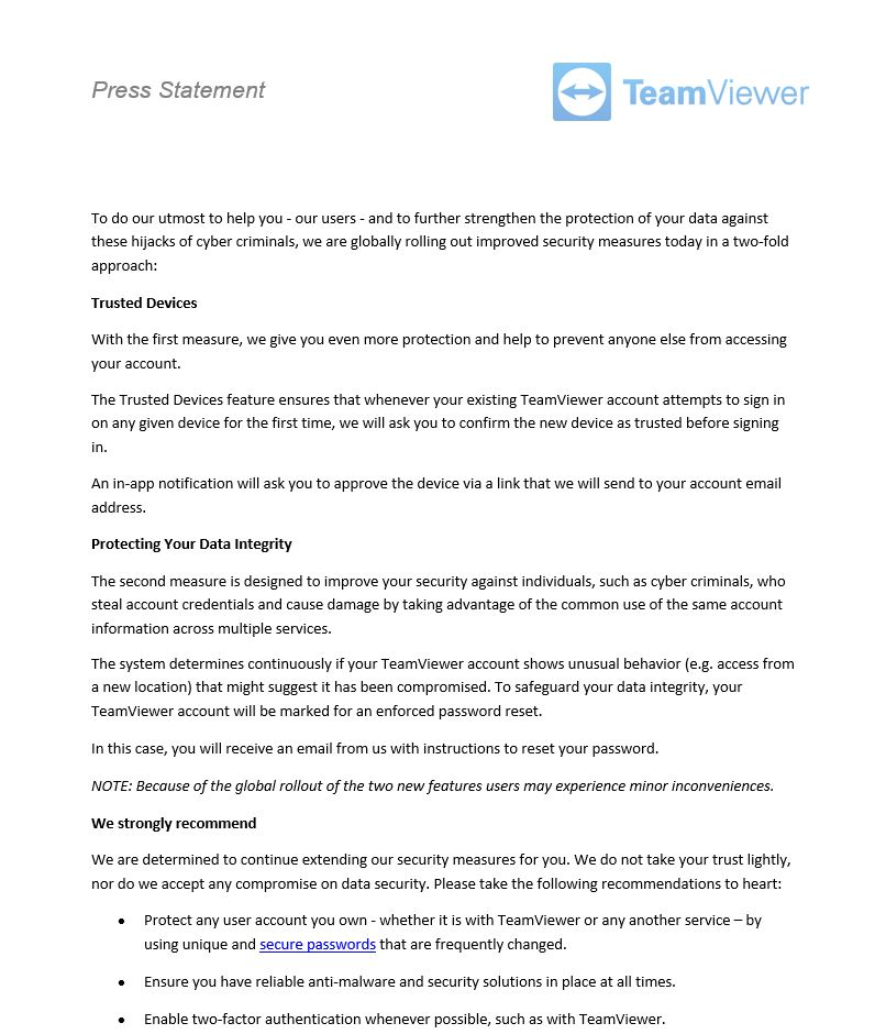 UPDATED: Users Suspect TeamViewer Hack, Company Denies It