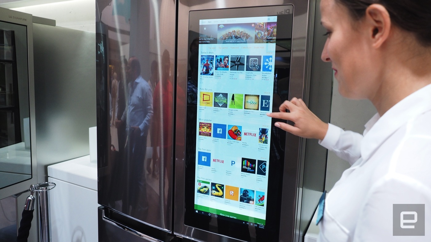 lg has a smart fridge with windows 10 in it. Black Bedroom Furniture Sets. Home Design Ideas
