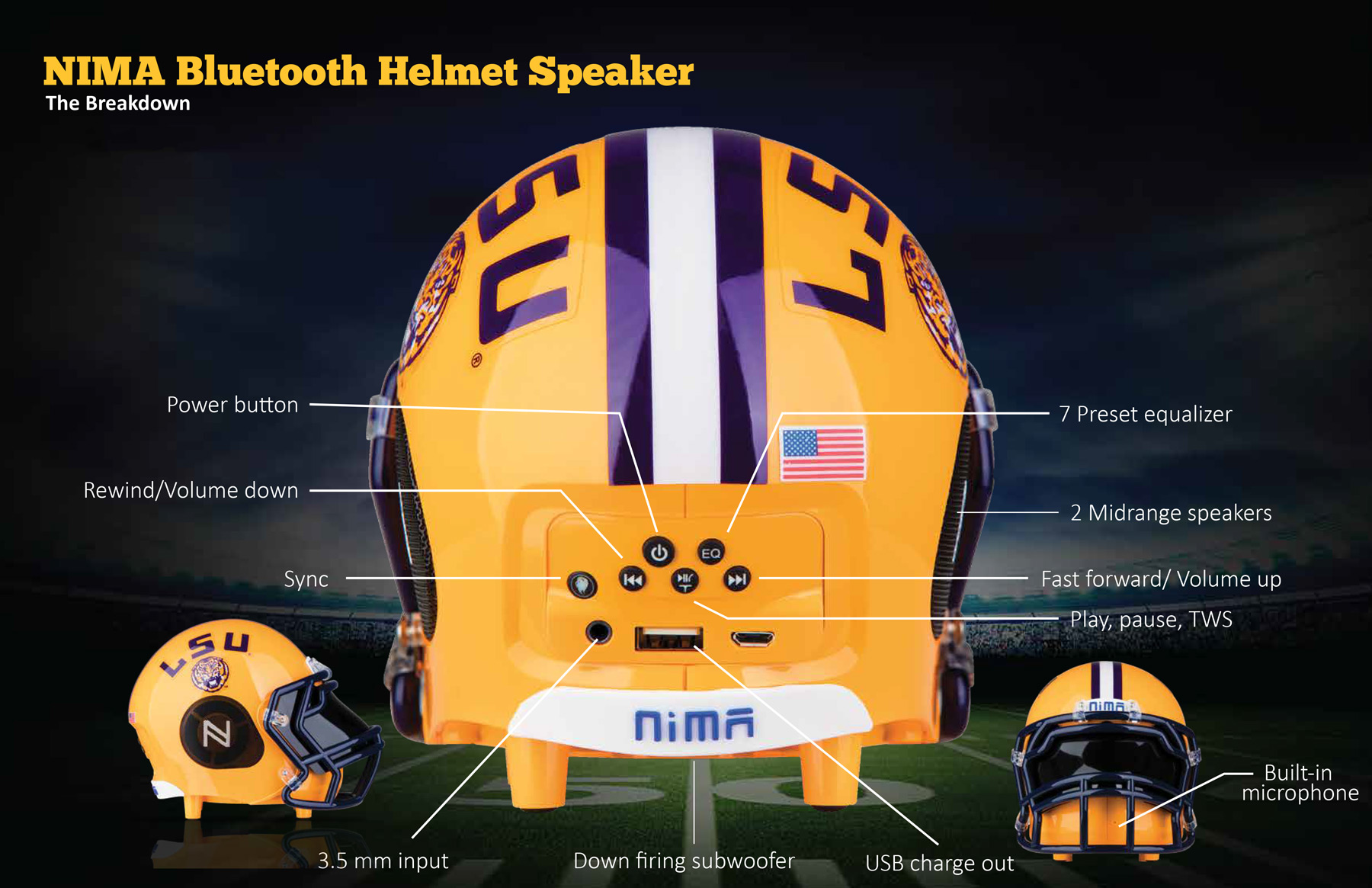 Nima Bt Speaker Review Superfan Your Ncaa Sound In Style Speakerconnectiondiagramjpg Around The Right And Left Of Helmet Youll Find Team Branding Along With Mid Range Speakers On Both Sides Logo Is Prominently