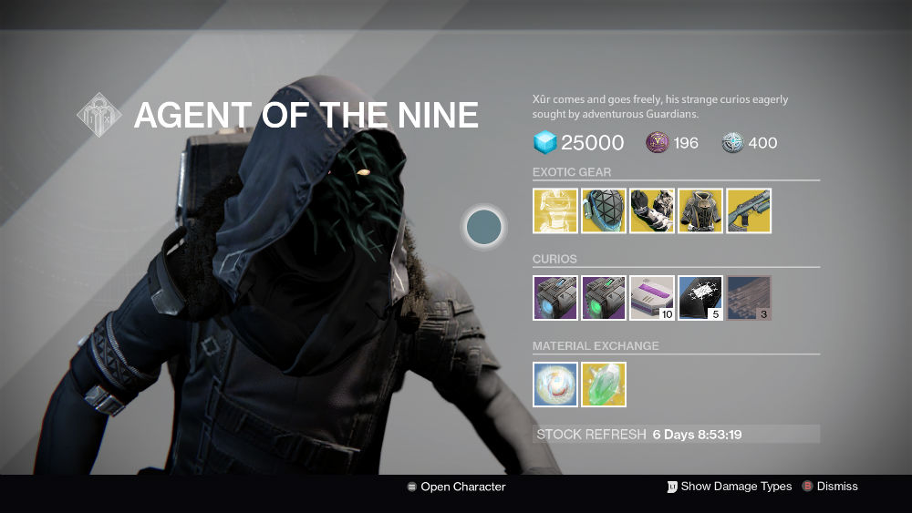 Xur s location for december 16th 18th and what he s selling