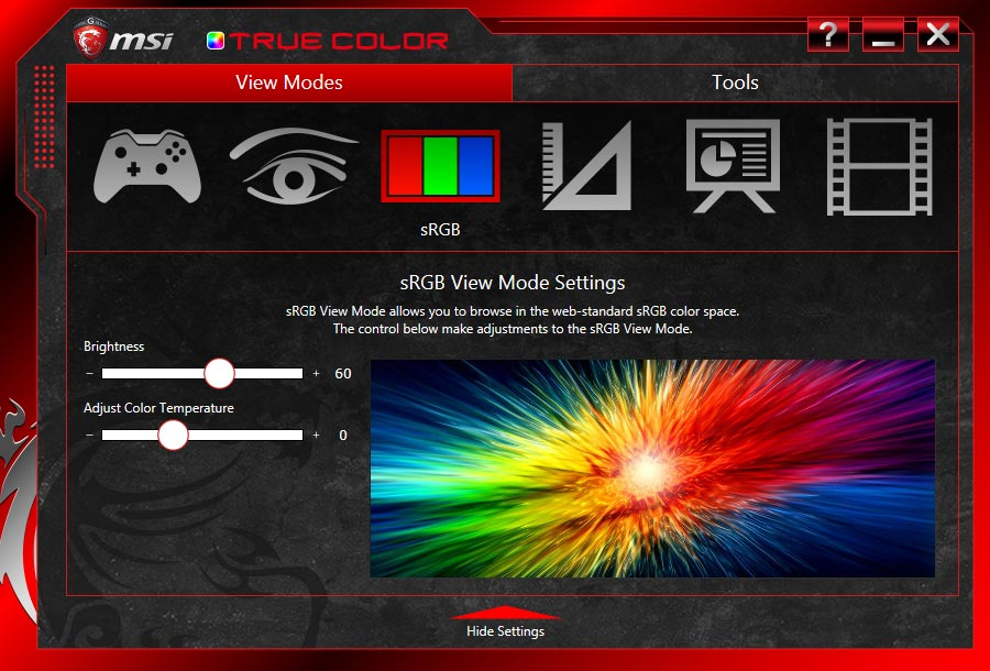 MSI-True-Color-app-screenshot