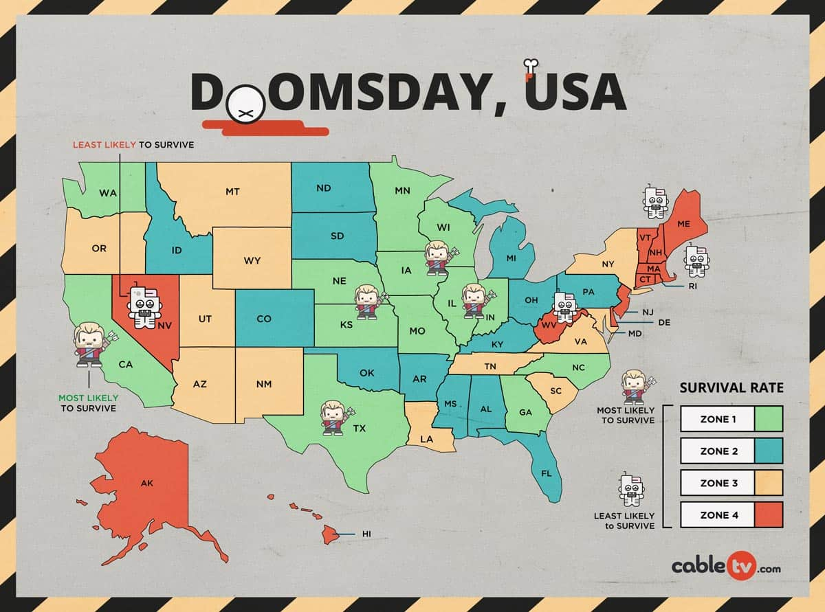 Doomsday, USA Infographic courtesy CableTV.com