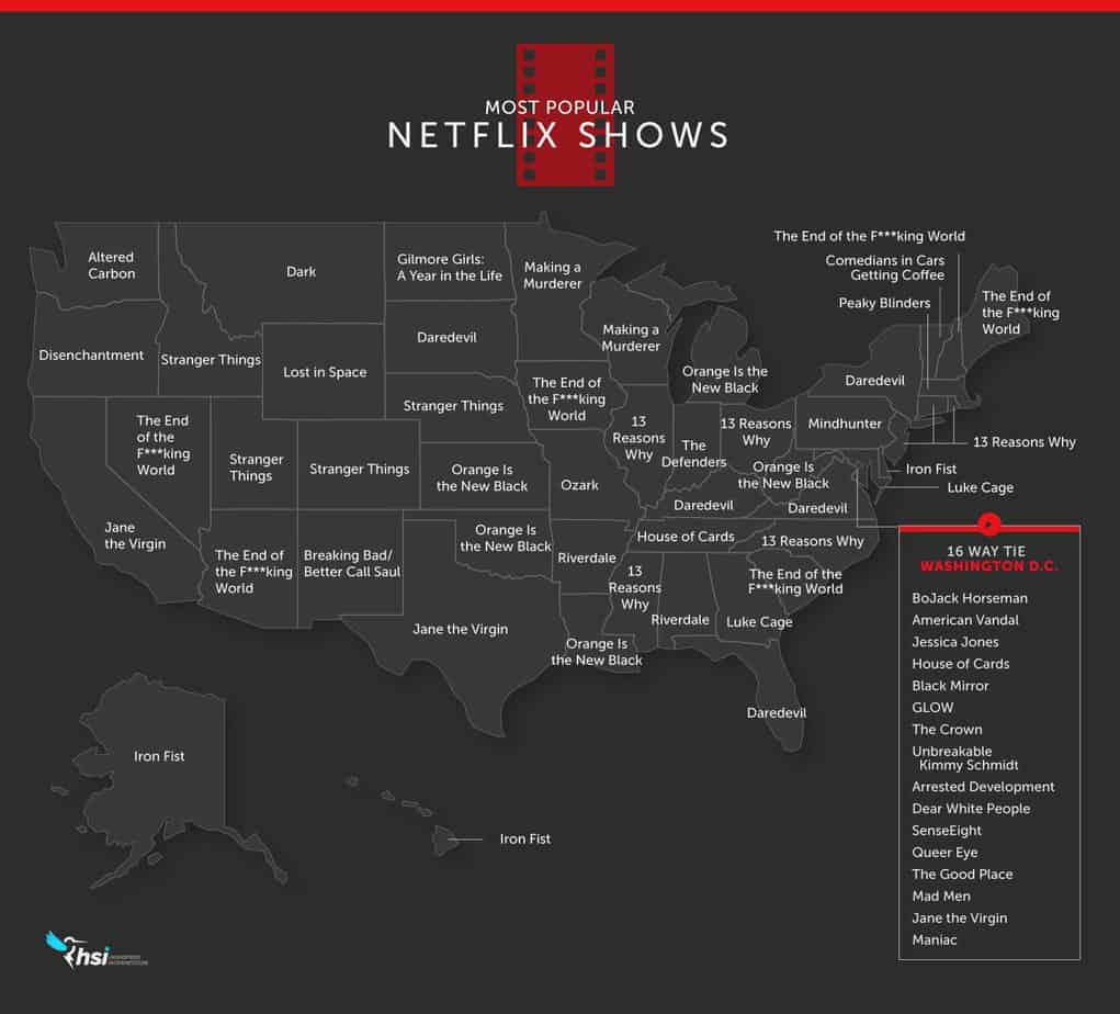 HSI Netflix by state map