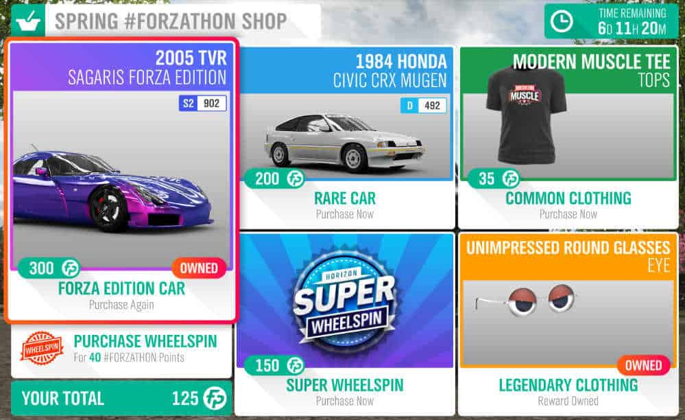 Forza Horizon 4 Spring #Forzathon Shop December 13