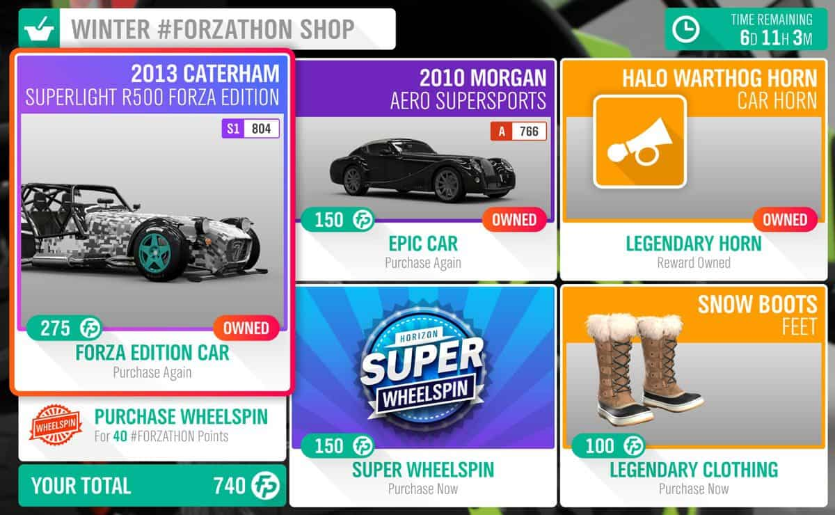 Forza Horizon 4 January 3rd Winter #Forzathon Shop.