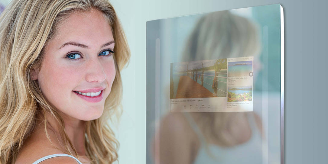 ces 2019 capstone connected home introduces their google enabled smart mirror. Black Bedroom Furniture Sets. Home Design Ideas