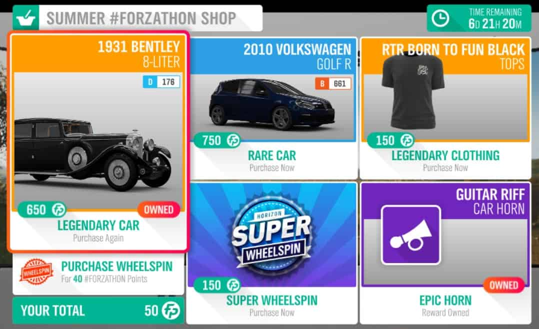 Forza Horizon 4 Summer #Forzathon Shop March 14-21