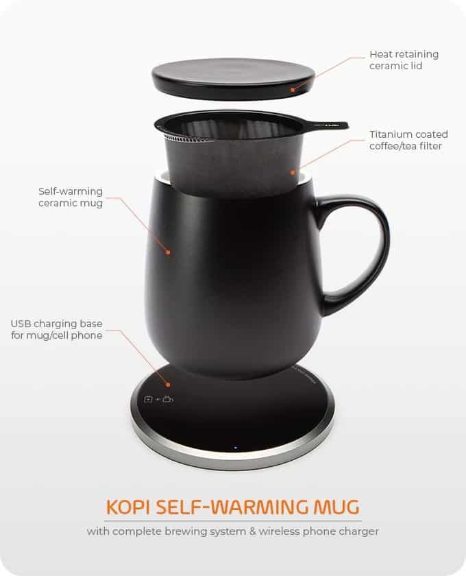 The KOPI self-warming mug.