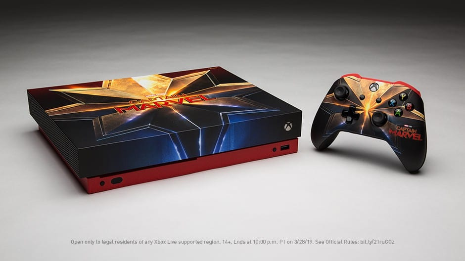 The custom Captain Marvel Xbox One X