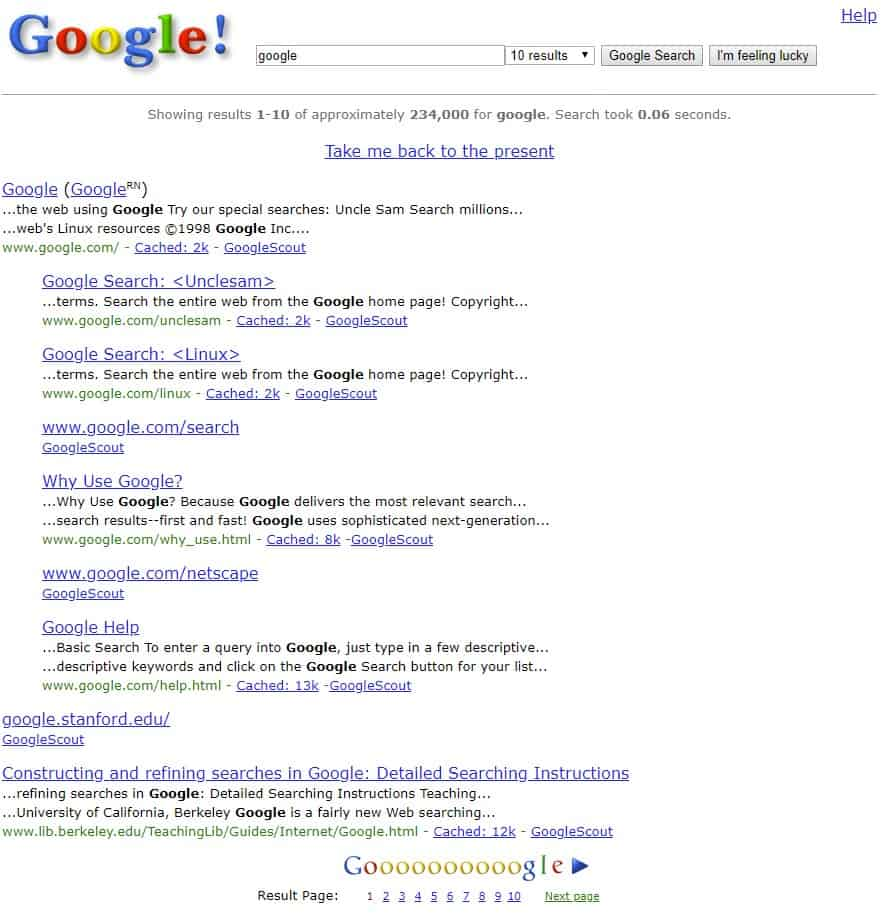 Go way back with Google Search in 1998!
