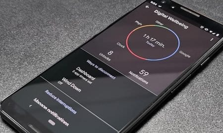 Google Pixel 3 smartphone with Digital Wellbeing app displayed