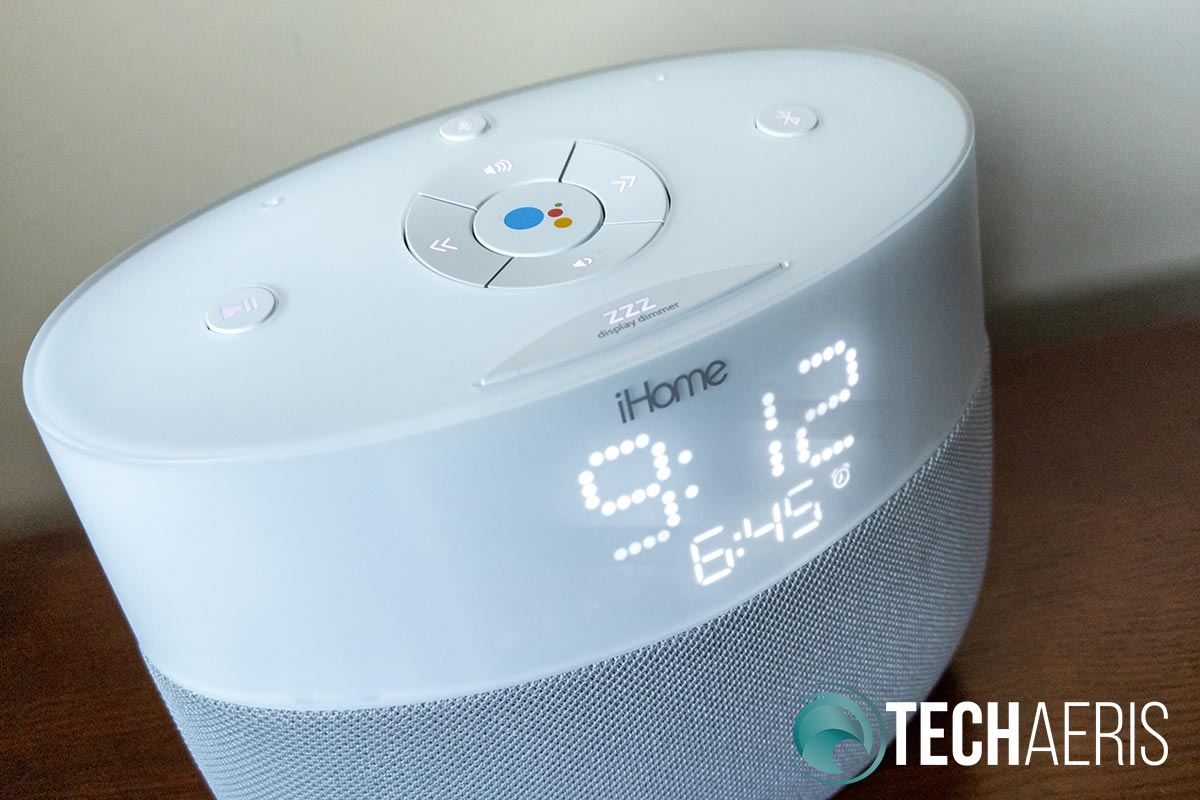 The iHome iGV1 Google Assistant Built-In Bedside Speaker System showing the next alarm.