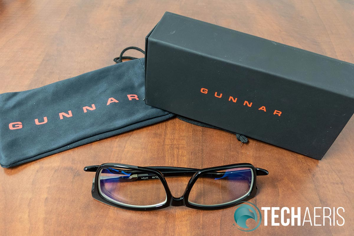 The GUNNAR Haus Onyx blue light blocking computer glasses come with a soft pouch and a harder case