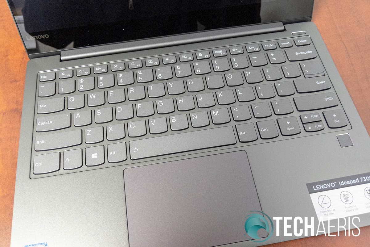 The 6 row keyboard and touchpad on the IdeaPad 730S ultrabook