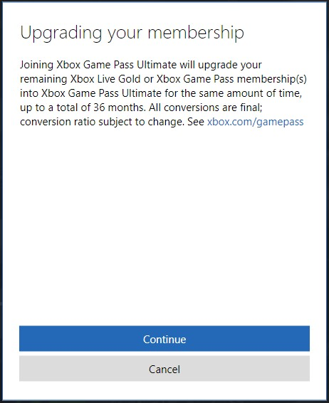 Xbox Game Pass Ultimate upgrade screenshot