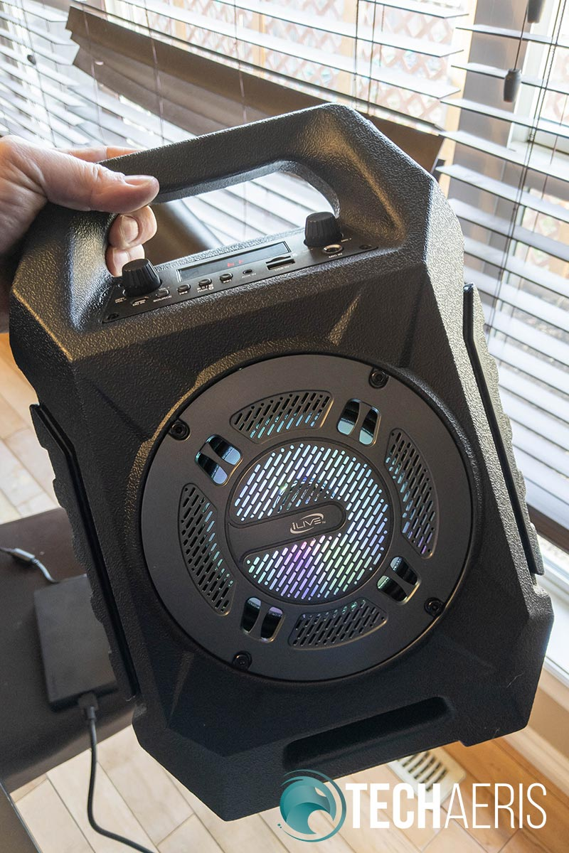 The The iLive ISB408 Wireless Tailgate Speaker has LED Lights behind the speaker grille