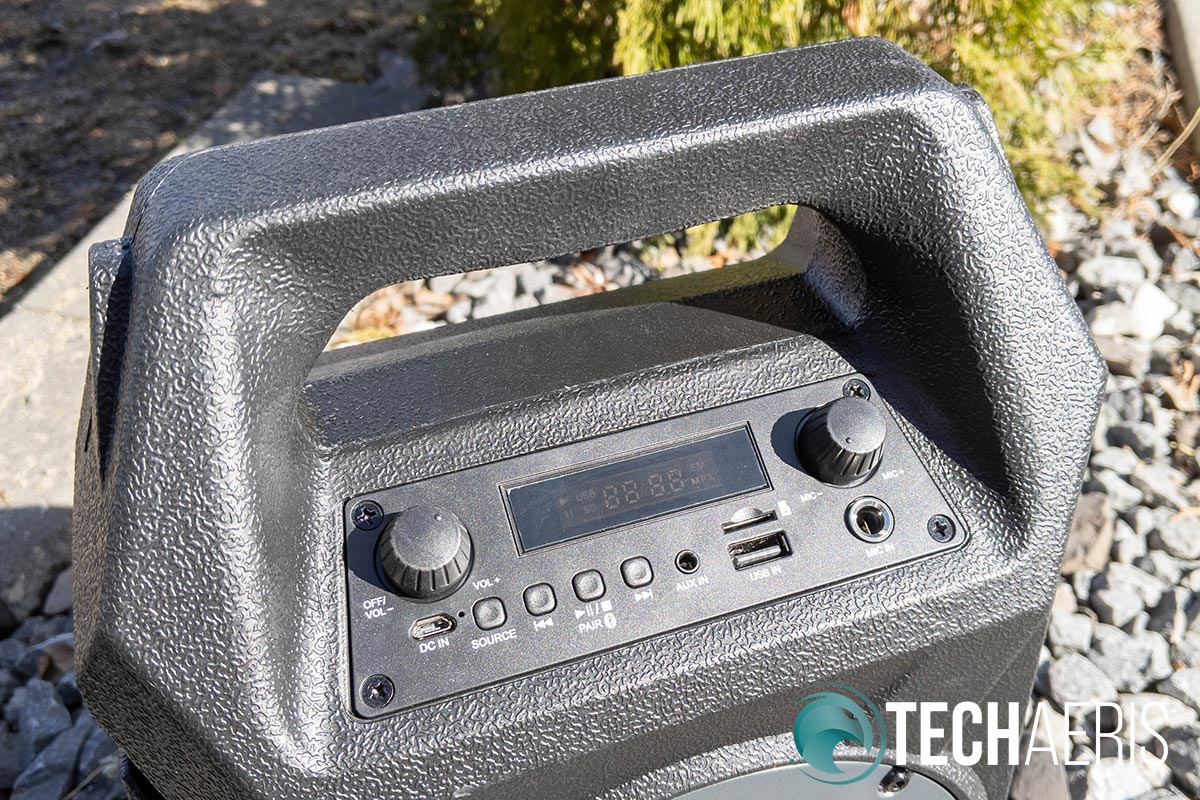 The iLive ISB408 Wireless Tailgate Speaker has a handle and a handy control panel