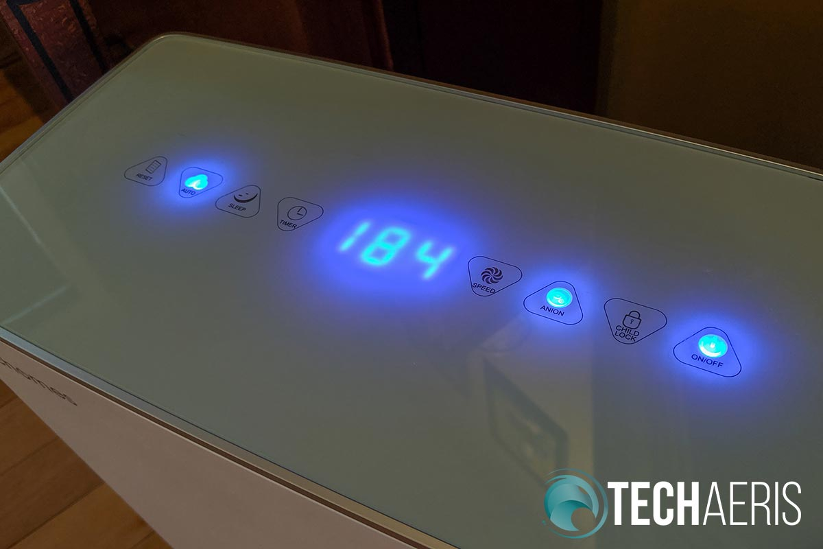 Top touch panel on the Elechomes UC3101 Air Purifier