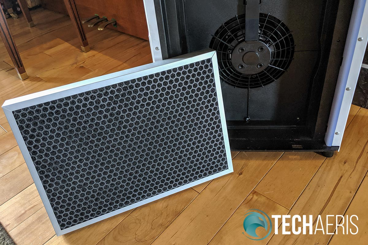 The HEPA filter and inside of the Elechomes UC3101 Air Purifier