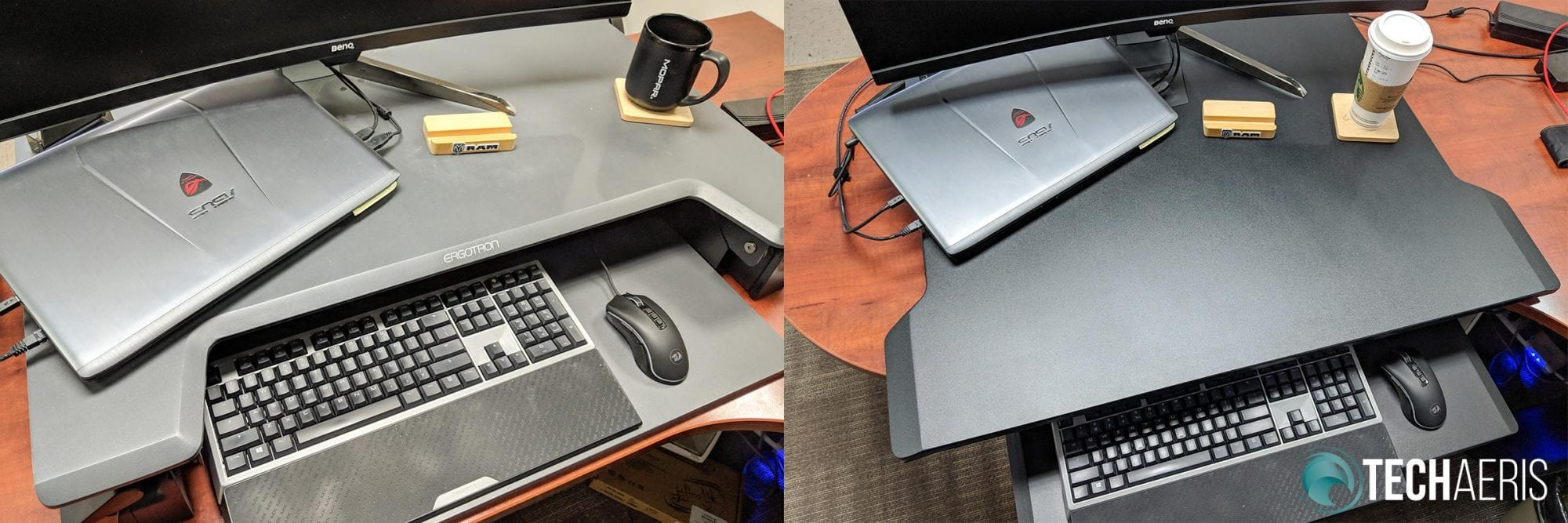 Ergotron WorkFit-TL (left) compared to Ergotron WorkFit-TX (right)