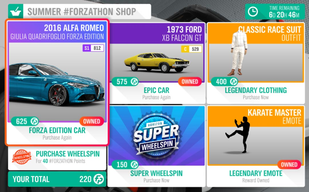 The Summer #Forzathon Shop for July 4-11th.