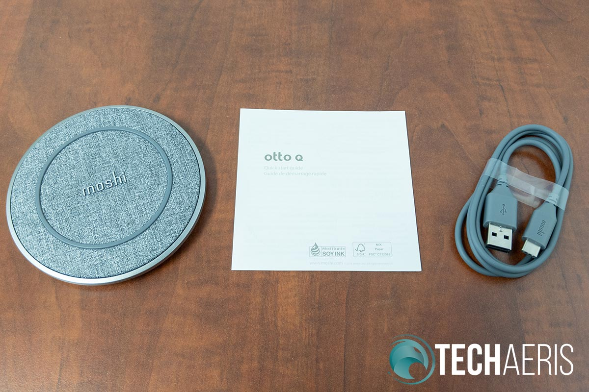 What's included with the Moshi Otto Q wireless charging pad