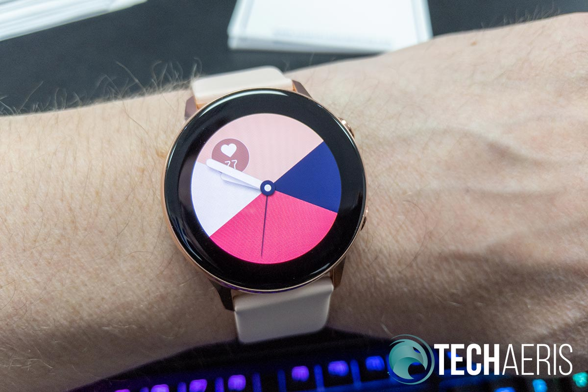 Various watch faces are available for the Samsung Galaxy Watch Active