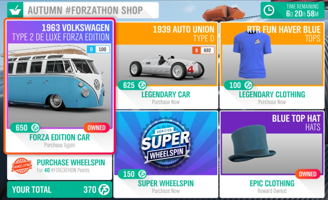 Autumn #Forzathon August 8-15th Shop