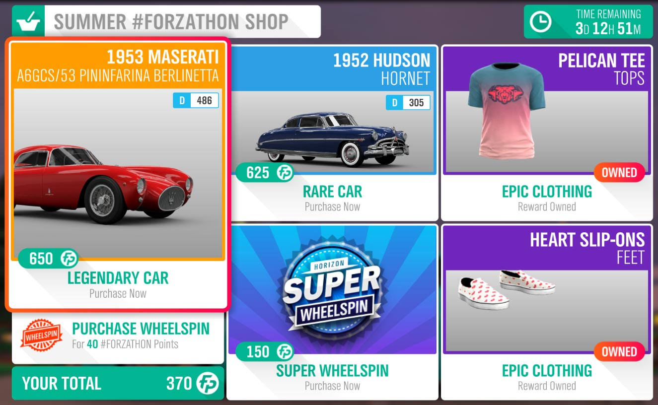 Forza Horizon 4 Summer #Forzathon Shop August 1-8th