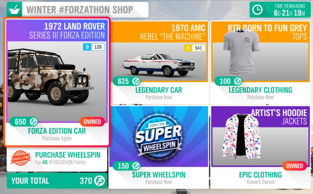 The Forza Horizon 4 Winter #Forzathon Shop August 15-22