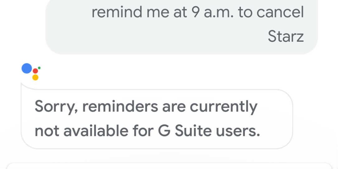 Google Assistant reminder GSuite not supported message
